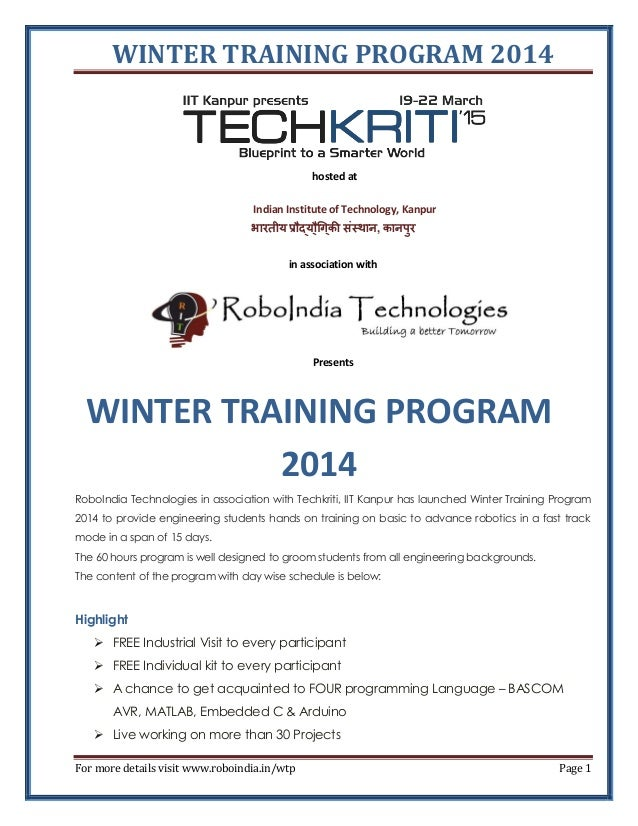 WINTER TRAINING PROGRAM ASSOCIATION WITH TECHKRITI'15 IIT KANPUR
