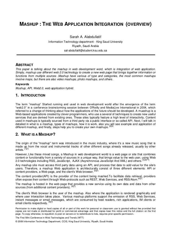 MASHUP : THE WEB APPLICATION INTEGRATION (OVERVIEW)                                                     Sarah A. Alabdulla...