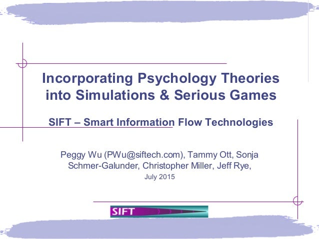 Incorporating Psychology Theories into Simulations & Serious Games SIFT – Smart Information Flow Technologies Peggy Wu (PW...