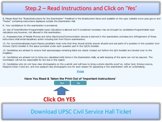 Upsc Civil Services Mains 2015 Admit Card
