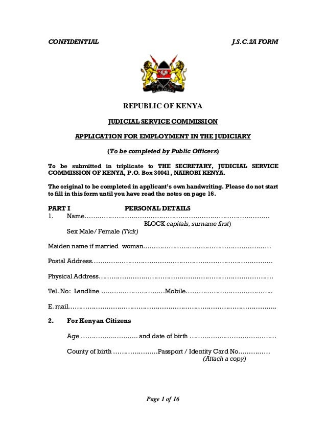 Jsc 2 a application for employment form public officers Judicial Service Commission Kenya Job Application Form on