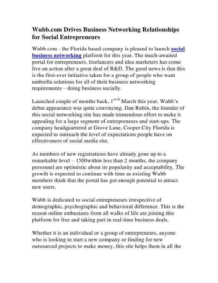 Wubb.com Drives Business Networking Relationshipsfor Social EntrepreneursWubb.com - the Florida based company is pleased t...