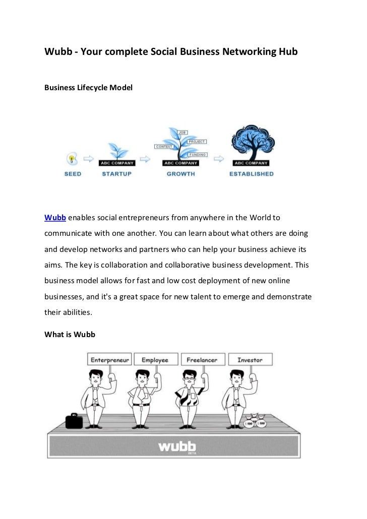 Wubb - Your complete Social Business Networking HubBusiness Lifecycle ModelWubb enables social entrepreneurs from anywhere...