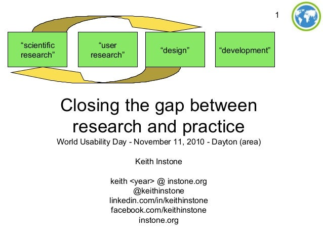 1 Closing the gap between research and practice World Usability Day - November 11, 2010 - Dayton (area) Keith Instone keit...