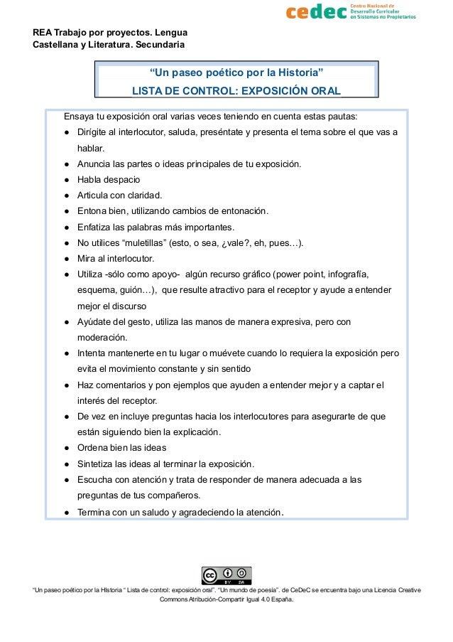 """REA Trabajo por proyectos. Lengua Castellana y Literatura. Secundaria """"Un paseo poético por la Historia"""" LISTA DE CONTROL:..."""