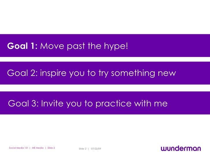 Goal 1:  Move past the hype!  Goal 2: Inspire you to try something new Goal 3: Motivate you to participate