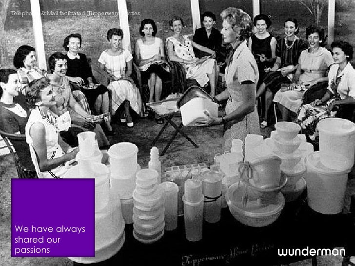 Telephone and Mail facilitated Tupperware Parties We have always shared our passions