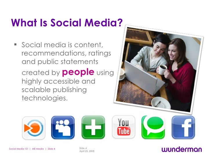 What Is Social Media? <ul><li>Social media is content, recommendations, ratings and public statements created by  people  ...