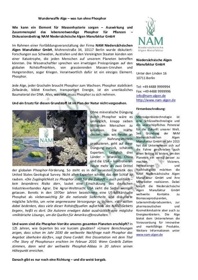 Wunderwaffe Alge – was tun ohne Phosphor Wie kann ein Element für Massenhysterie sorgen – Auswirkung und Zusammenspiel das...