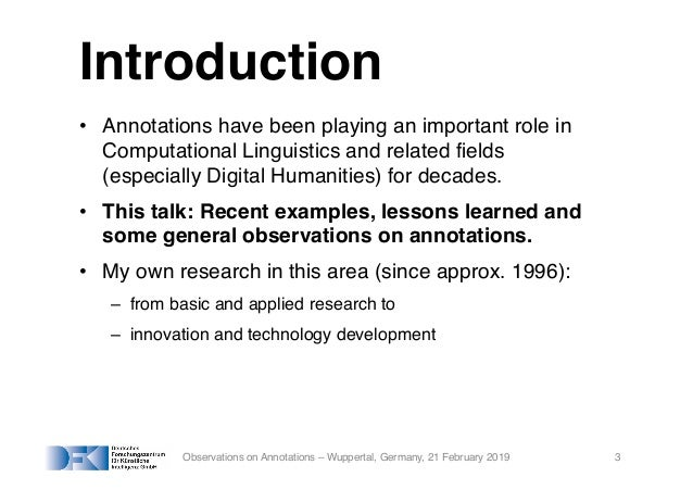 Observations on Annotations – From Computational Linguistics and the World Wide Web to Artificial Intelligence and back again Slide 3