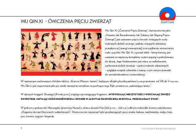 """WU QIN XI  CWICZENIA PIECIU ZWIERZAT  DANTIAN  Wu Qin Xi (""""Cwiczenia Pieciu Zwierzat"""", tłumaczone tez jako  """"Hasanie, lub ..."""