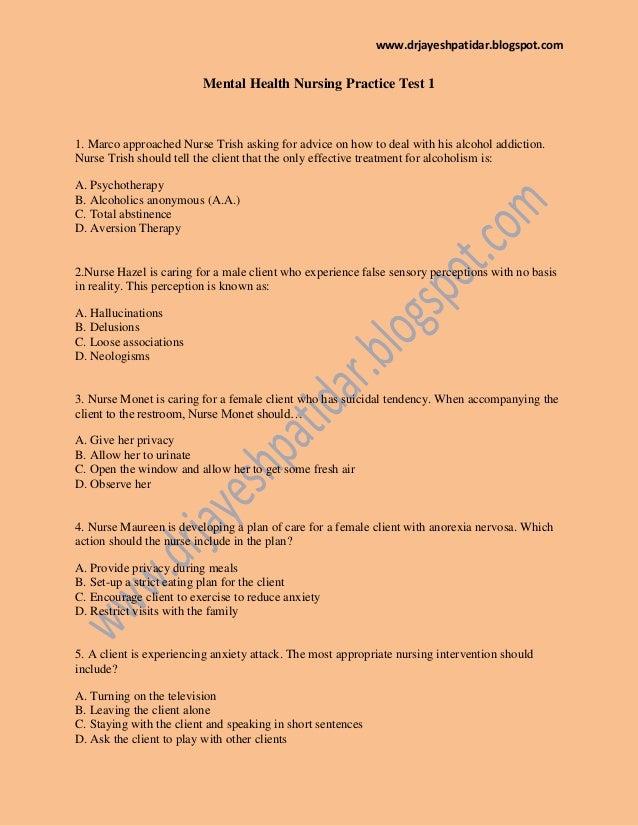 Mental health nursing practice test 1