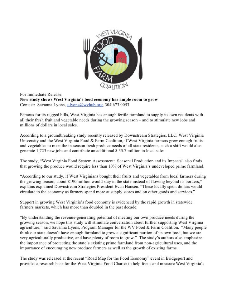 For Immediate Release:New study shows West Virginia's food economy has ample room to growContact: Savanna Lyons, s.lyons@w...
