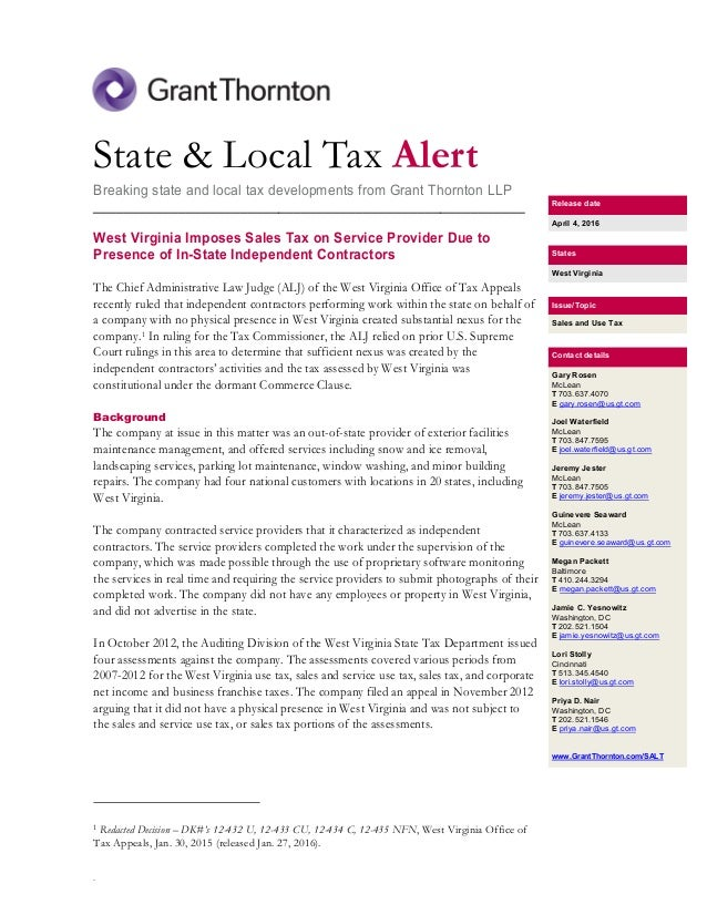 Virginia State Sales Tax >> Us West Virginia Imposes Sales Tax On Service Provider Due To Presen