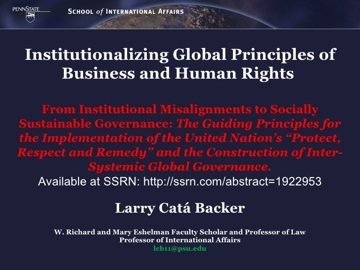 Institutionalizing Global Principles of      Business and Human Rights    From Institutional Misalignments to SociallySust...