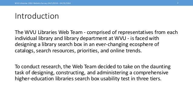 WVU Libraries 2016 Website Survey Pt.1 Slide 2