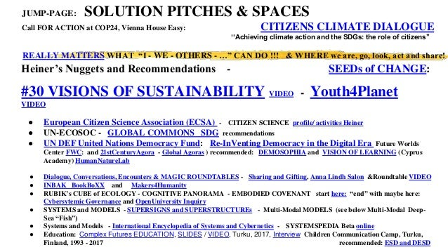 Heiner's Nuggets and Recommendations - SEEDs of CHANGE: #30 VISIONS OF SUSTAINABILITY VIDEO - Youth4Planet VIDEO ● Europea...