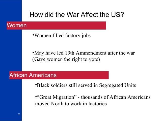 """impact of world war 1 on germans and african americans essay There were two distict versions of the american dream during world war i, the white soldier version, and the african american version they may have been different, but they shared one common thing they were both part of a group that formed the """"lost generation."""