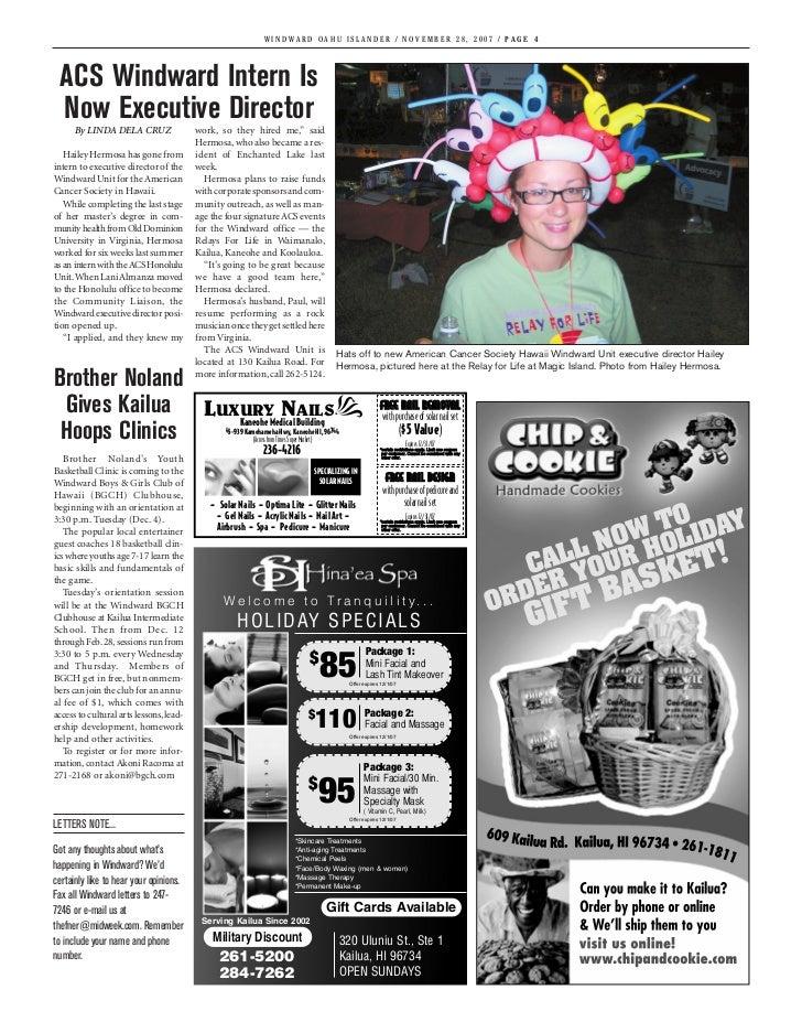 WINDWARD OAHU ISLANDER / NOVEMBER 28, 2007 / PAGE 4 ACS Windward Intern Is Now Executive Director      By LINDA DELA CRUZ ...