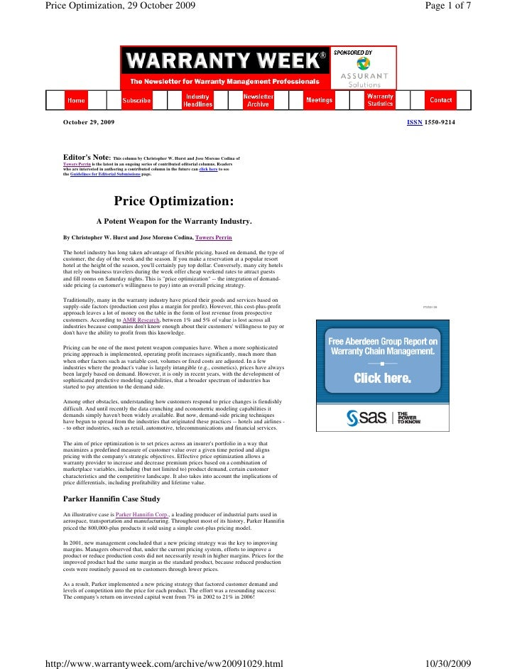 Price Optimization, 29 October 2009                                                                          Page 1 of 7  ...