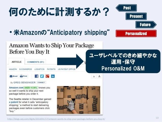 """何のために計測するか?  Past Present Future  • 米Amazonの""""Anticipatory shipping""""  Personalized  ユーザレベルでのきめ細やかな 運用・保守 Personalized O&M  ..."""