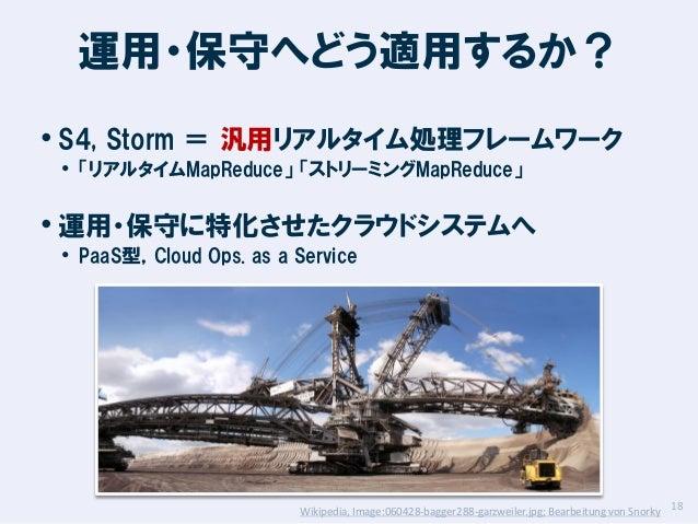 運用・保守へどう適用するか? • S4, Storm = 汎用リアルタイム処理フレームワーク • 「リアルタイムMapReduce」 「ストリーミングMapReduce」  • 運用・保守に特化させたクラウドシステムへ • PaaS型,Clou...