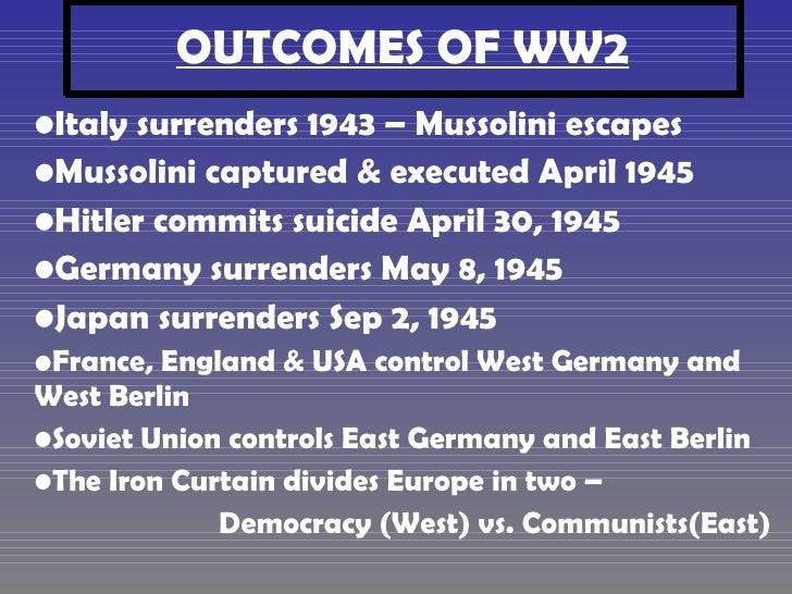 WW2 Causes & Outcomes