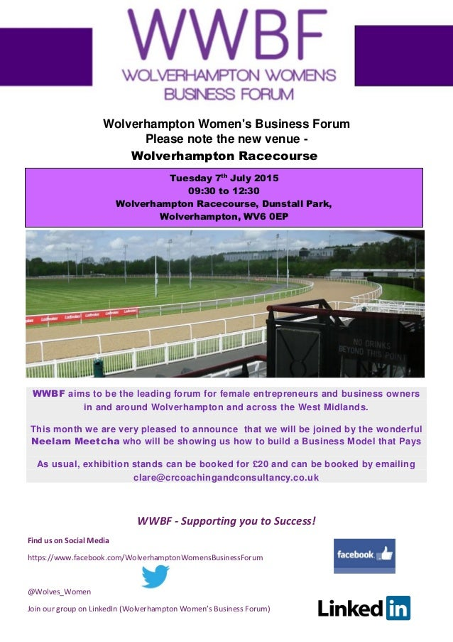 WWBF - Supporting you to Success! Find us on Social Media https://www.facebook.com/WolverhamptonWomensBusinessForum @Wolve...