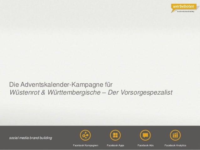 Copyright@2013 Werbeboten Media 1 Die Adventskalender-Kampagne für Wüstenrot & Württembergische – Der Vorsorgespezalist so...