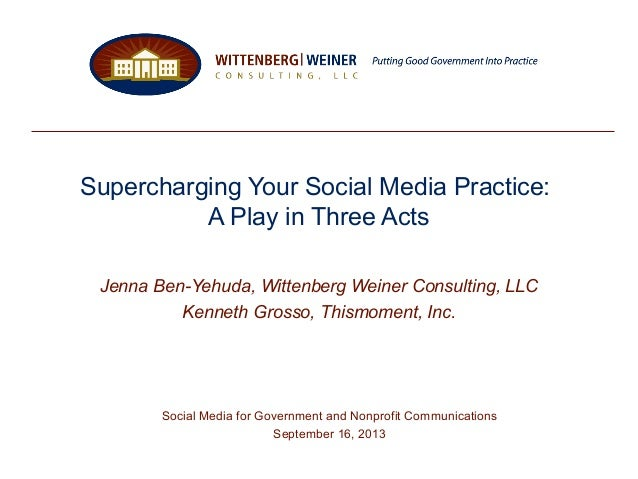 Supercharging Your Social Media Practice: A Play in Three Acts Jenna Ben-Yehuda, Wittenberg Weiner Consulting, LLC Kenneth...