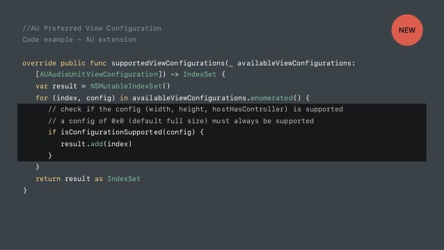 //AU Preferred View Configuration Code example - AU extension override public func supportedViewConfigurations(_ available...