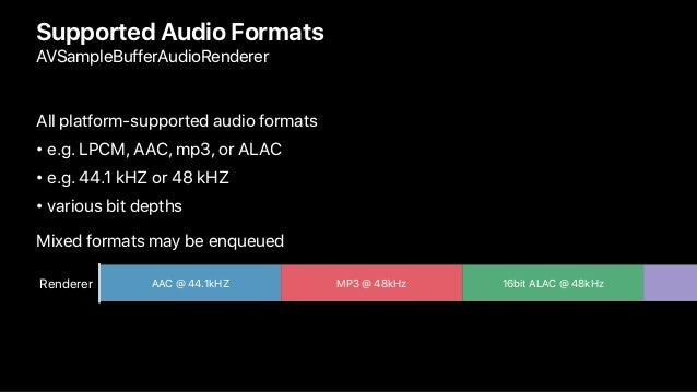 Supported Audio Formats AVSampleBufferAudioRenderer All platform-supported audio formats • e.g. LPCM, AAC, mp3, or ALAC • ...