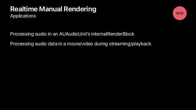 Processing audio in an AUAudioUnit's internalRenderBlock Processing audio data in a movie/video during streaming/playback ...