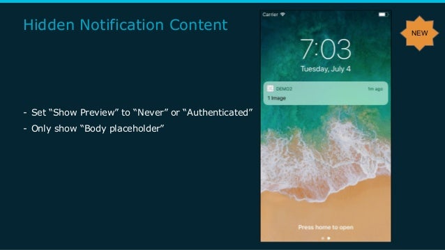 """Hidden Notification Content - Set """"Show Preview"""" to """"Never"""" or """"Authenticated"""" - Only show """"Body placeholder"""" NEW"""