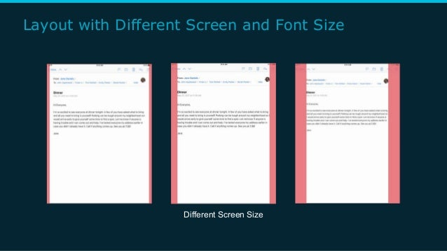 Layout with Different Screen and Font Size Different Screen Size