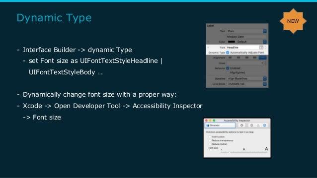 Dynamic Type - Interface Builder -> dynamic Type - set Font size as UIFontTextStyleHeadline | UIFontTextStyleBody … - Dyna...
