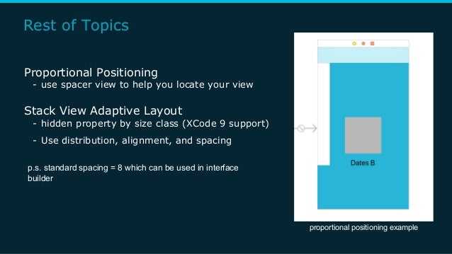 Rest of Topics Proportional Positioning - use spacer view to help you locate your view Stack View Adaptive Layout - hidden...
