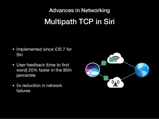Advances in Networking Multipath TCP in Siri • Implemented since iOS 7 for Siri  • User feedback (time to first word) 20% f...