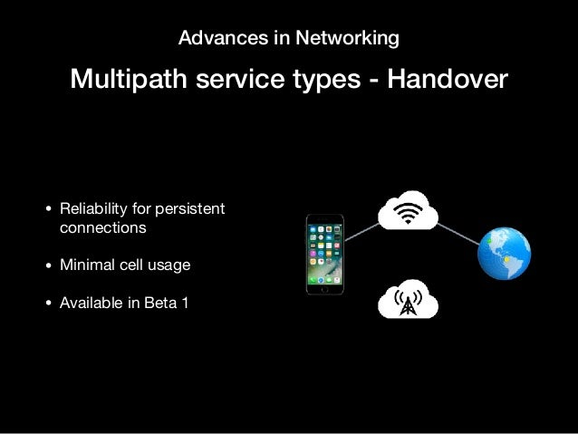 Advances in Networking Multipath service types - Handover • Reliability for persistent connections  • Minimal cell usage  ...