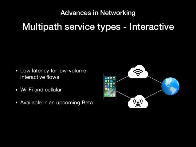 Advances in Networking Multipath service types - Interactive • Low latency for low-volume interactive flows  • Wi-Fi and ce...
