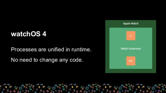 watchOS 4 Processes are unified in runtime. No need to change any code.