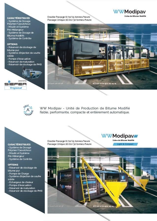 CARACTÉRISTIQUES - Système de Dosage Polymer/Caoutchouc - Moulin et Système Pré-Mélangeur - Système de Contrôle OPTIONS - ...
