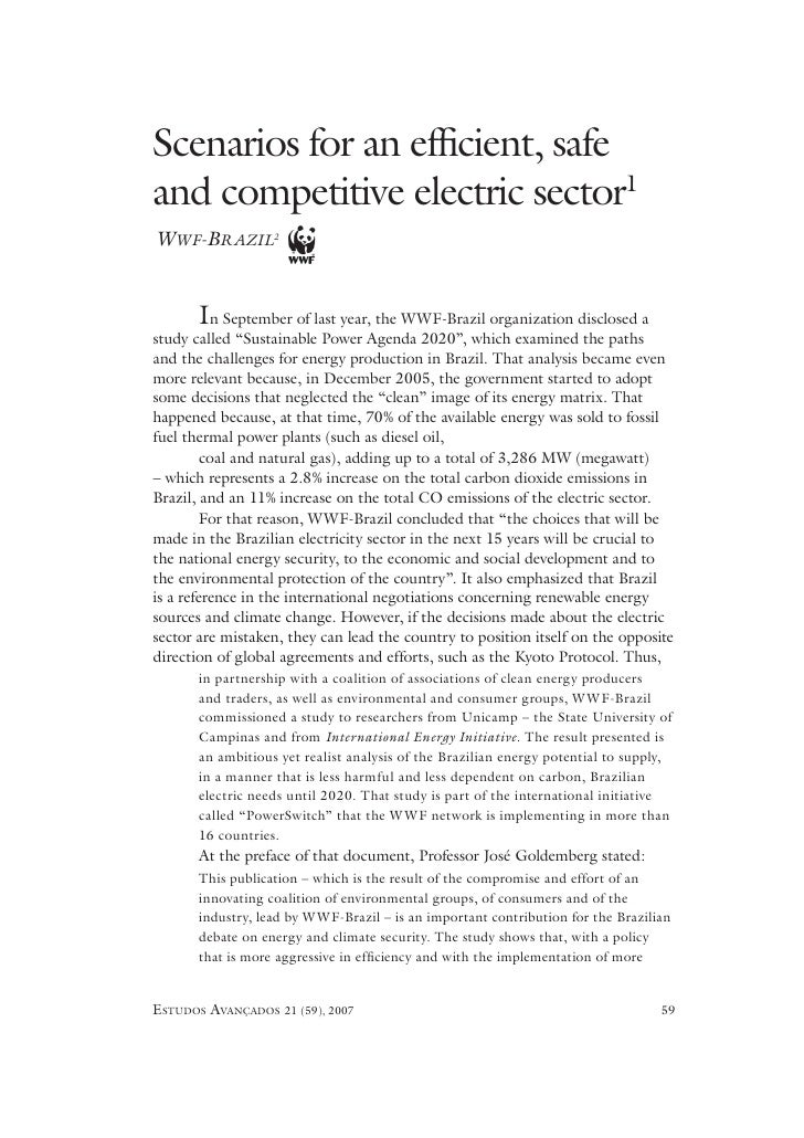 Scenarios for an efficient, safe and competitive electric sector1 WWF-BRAZIL2          In   September of last year, the WWF...