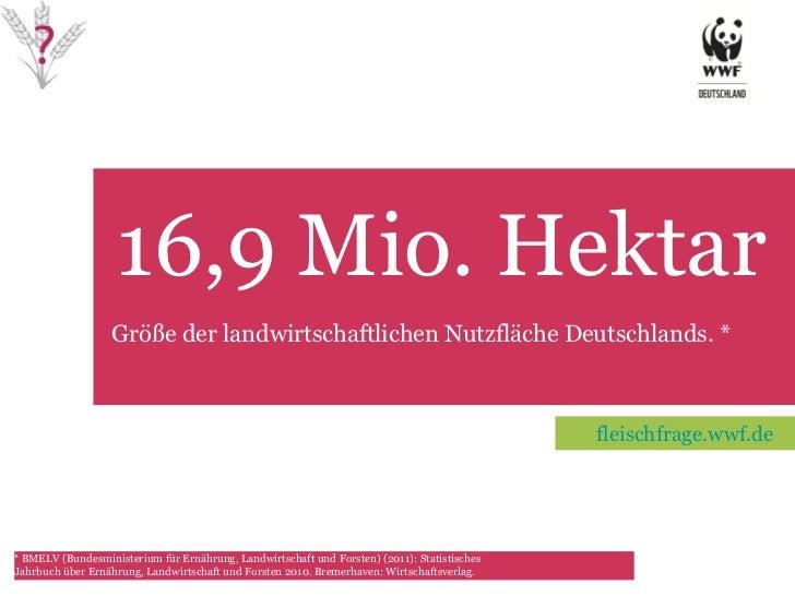 16,9 Mio. Hektar   TET Größe der landwirtschaftlichen Nutzfläche Deutschlands. * *   BMELV (Bundesministerium für Ernährun...