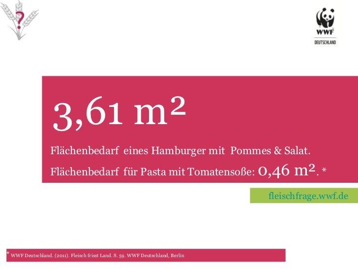 3,61 m² TET Flächenbedarf  eines Hamburger mit  Pommes & Salat. Flächenbedarf  für Pasta mit Tomatensoße:  0,46 m² . * *  ...