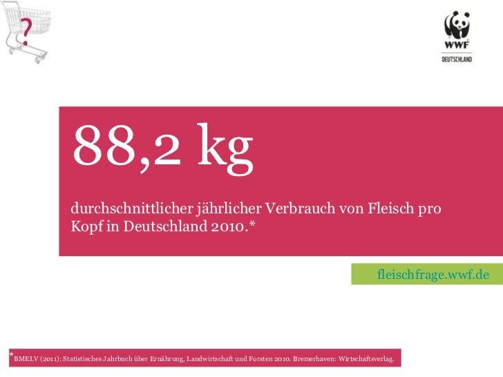 88,2 kg  TET * BMELV (2011): Statistisches Jahrbuch über Ernährung, Landwirtschaft und Forsten 2010. Bremerhaven: Wirtscha...