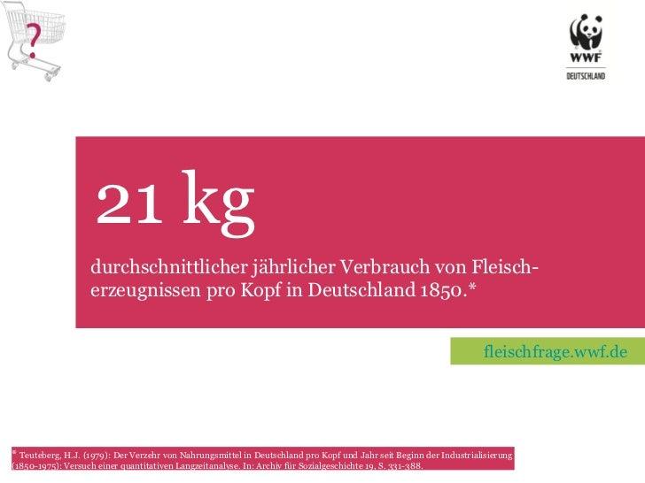 21 kg TET durchschnittlicher jährlicher Verbrauch von Fleisch-erzeugnissen pro Kopf in Deutschland 1850.* *  Teuteberg, H....