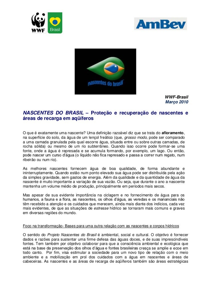 WWF-Brasil                                                                                 Março 2010  NASCENTES DO BRASIL...