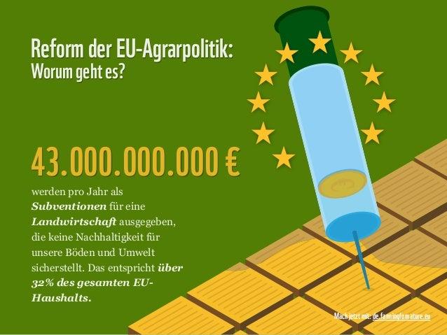 Reform der EU-Agrarpolitik:Worum geht es?43.000.000.000 €werden pro Jahr alsSubventionen für eineLandwirtschaft ausgegeben...