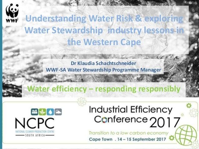 Understanding Water Risk & exploring Water Stewardship industry lessons in the Western Cape Water efficiency – responding ...